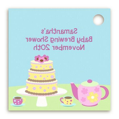 tea party personalized baby shower card stock