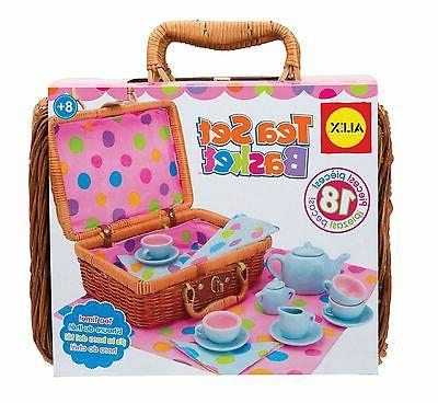 Tea Party Set Pretend Play Girl Toy Kid Wicker Picnic Basket