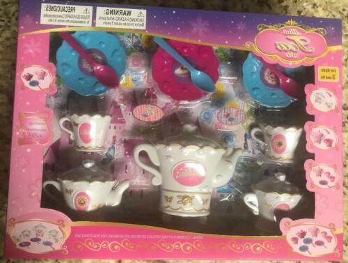Tea Set 14 Plastic Pieces for Girl's Kid's Tea Set Party W
