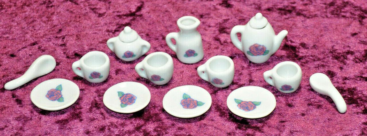 Tea Set 15 pc Little Girls Miniature Porcelain Ceramic china