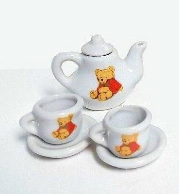 TEA SET Miniature Porcelain Bear Girl TOY House Decor
