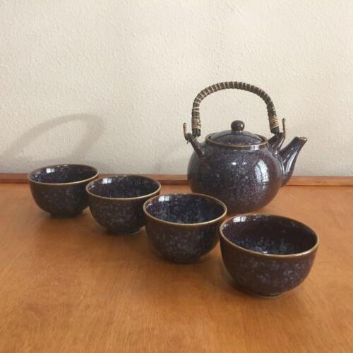 Teavana Tea Set Stoneware Blue And Set