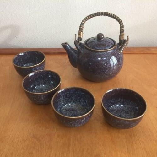 Stoneware Blue Teapot Teacup Set