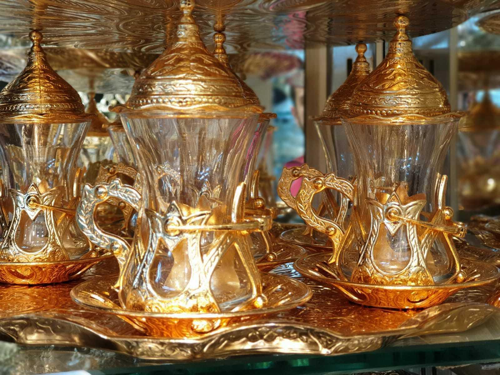 tea set Handmade Turkish Arabic GREEK 6 TEA Cup Saucer Set T