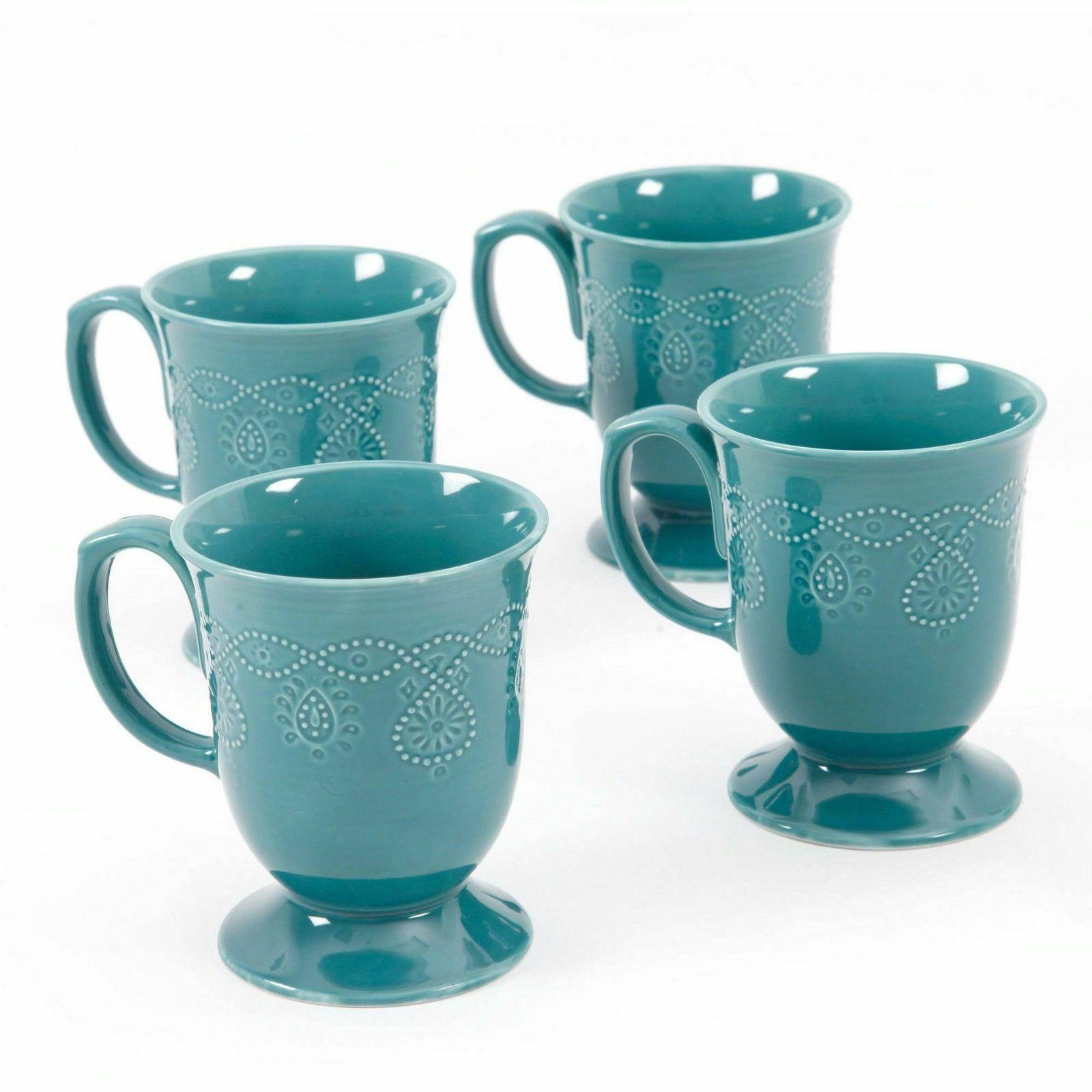 Teal Coffee Set Tea Cappuccino Cups Mugs 4 Piece Round Glaze
