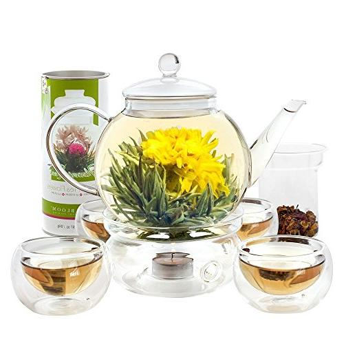 Teabloom Blooming - Teapot with 12 Teas, Tea Warmer, Double & Removable Glass Infuser Complete Set