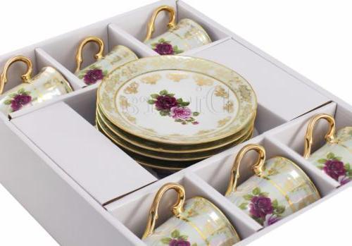 Thun Porcelain Espresso Tea/Coffee Set, 24K Czech Bone China Tableware