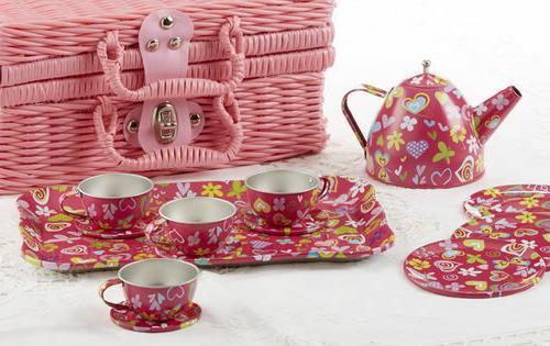 Delton Children's Tin Tea Set with Daisies on Pink