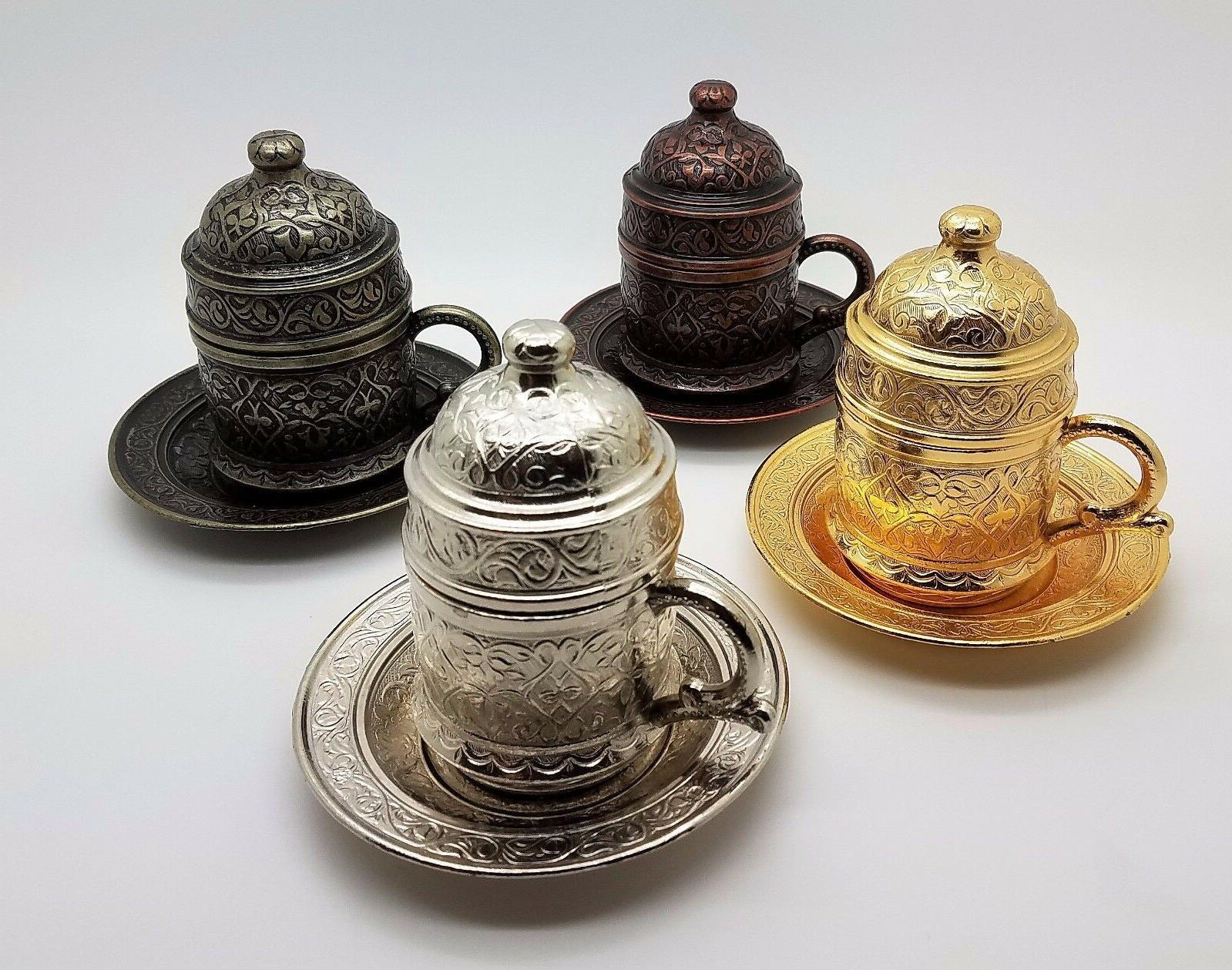 traditional ottoman metal turkish coffee cups