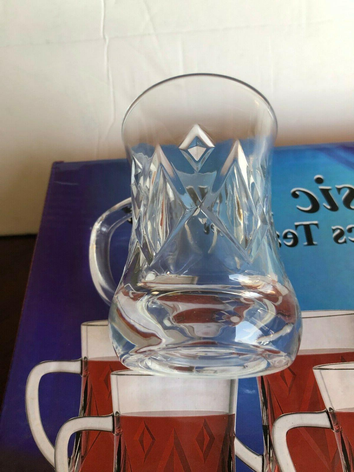 Turkish glass Cups Clear with handle /Tea-Matte ...