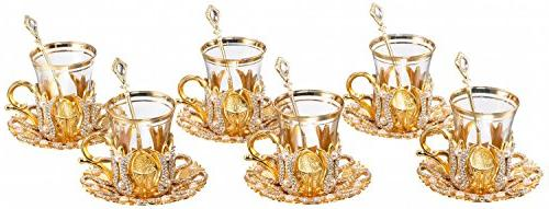 Tea Glasses Set with Saucers Holders Spoons, Decorated with Type and Pcs by