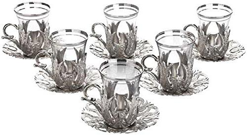 6 X CopperBull 2018 Turkish Tea Glasses with Saucers &