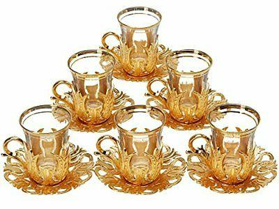 6 X 2018 Turkish Tea Glasses Set with Saucers Holders & Spoo