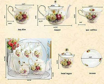ufengke 15 Piece Ceramic Tea Set with W