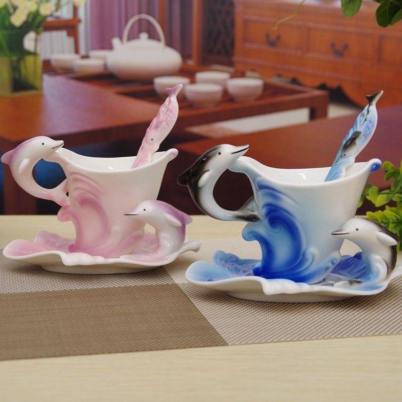 Dolphin Mug Spoon Home Cup