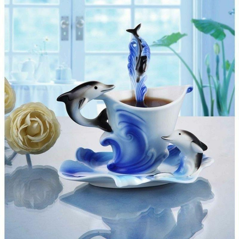 Dolphin Porcelain Mug Set with Spoon Home Cup