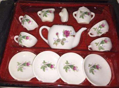 Vintage Childs Tea Set Roses with cream and sugar plus 4 Cup