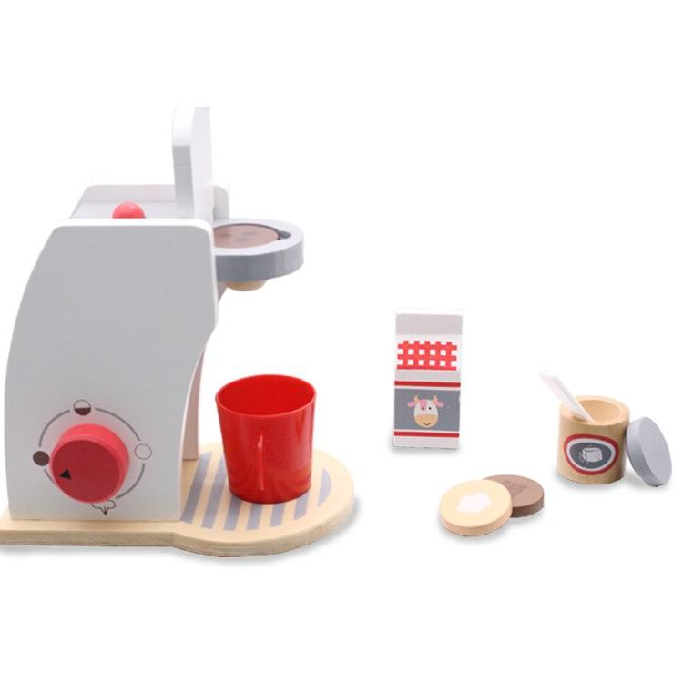 wooden play house kitchen tool coffee machine
