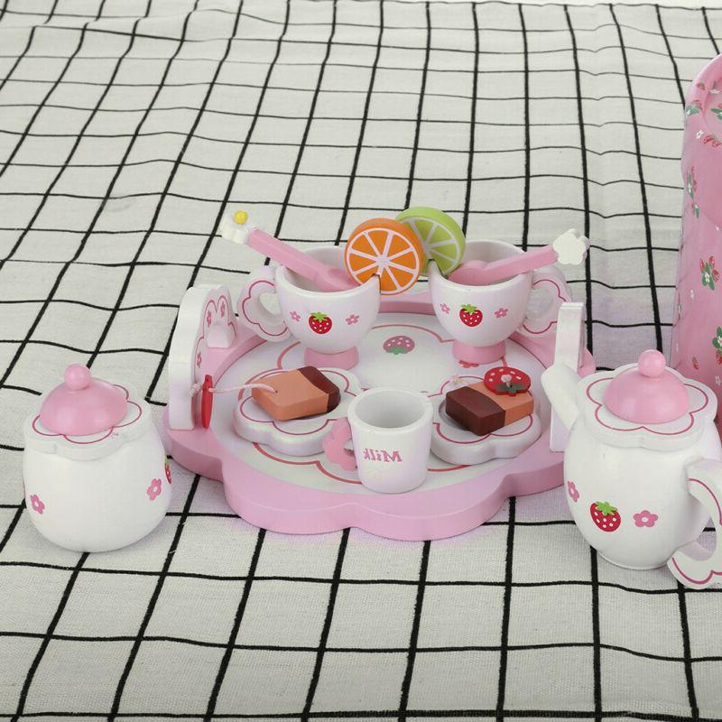 Pretend Play Ornaments Wooden Teapot Tea Cups Set Simulation