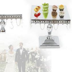 Lace Square Cake Stand Set Crystal Dessert Iron Frame Weddin