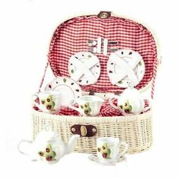 Delton Products Ladybug Kids Tea Set for Two in Basket 19 Pi