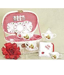 Delton Products Ladybug Kids Tea Set for Two in Basket 19 Pi