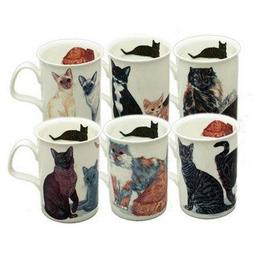 Roy Kirkham Cat Lover Mug Set of 6 Bone China Mugs from Engl