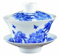 Large Traditional Blue and White Porcelain Gaiwan Fine Tea C