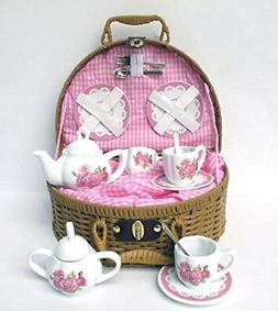 Delton Laura Rose Porcelain Tea Set with Basket 14 Piece Set