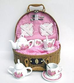 Delton Laura Rose Porcelain Tea Set with Basket 14 Piece