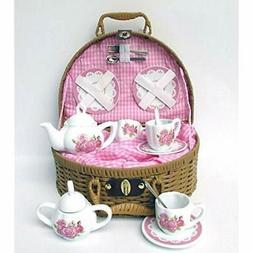 Laura Tea Sets Rose Porcelain With Basket 14 Piece Toys &amp
