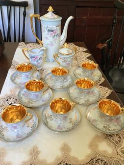 LeMieux China 24k Tea Set Demitasse Service For 8 Mint