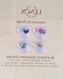 """Lenox Butterfly Meadow COLORS Trellis 8"""" Coffee Tea Mugs Set"""