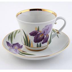 Imperial / Lomonosov Porcelain Teacup w/ Saucer 'Irises'