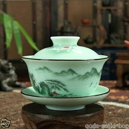 Longquan celadon gaiwan porcelain tea cup bowl fish design h