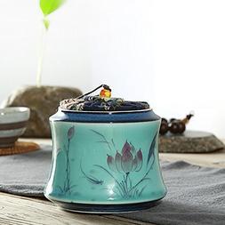 XDOBO Longquan Celadon Hand-painted Ceramic Tea Tin Seal Pot