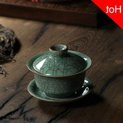 Longquan Celadon Porcelain Gaiwan China Teacups Crackle Glaz