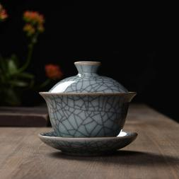 Longquan Celadon Porcelain Gaiwan Crackle Glaze 100ml 3.38 o