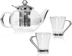 Bonabici Loose Leaf Tea Kettle Set w/Fancy Teapot and Cups -