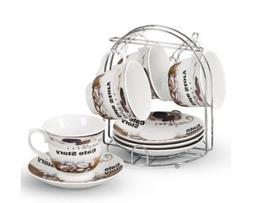 Lorren Home Trends 5-Piece Tea/Coffee Set, Brown Coffee Desi