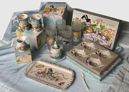 LOT: Cardew Designs Alice in Wonderland China Tray, Glasses,