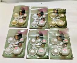 Lot of 6 Vintage Little Dream Girl Toy Tea Sets - NOS Vtg.