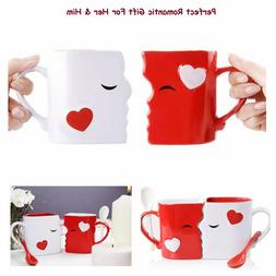 Love Mugs Set For Him & Her With Spoons Romantic Gift Kissin