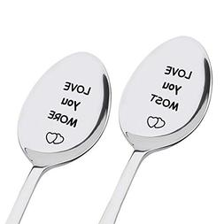 LOVE YOU MORE + LOVE YOU MOST Engraved Spoon Set - Stainless