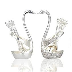 HQdeal Luxury Swan Forks and Spoons Set Serving Spoons Forks