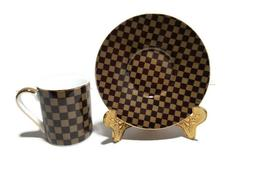 LV- Brown Small Tea, Coffee, Espresso Cup & saucer, set of 6