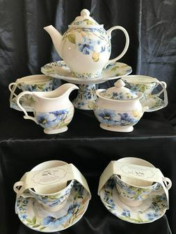 222 Fifth Lyanna Blue Tea Set Matching Cake Stand Butterfly