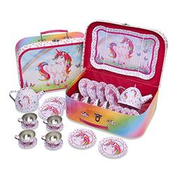 Lucy Locket Magical Unicorn Kids Tin Tea Set & Carry Case