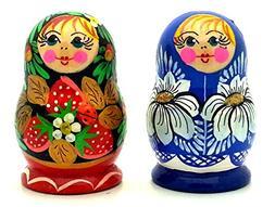 Set of 2 Magnet Russian Nesting matryoshka dolls wooden hand