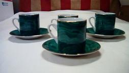 NEIMAN MARCUS malachite green gold set of 3 tea sets